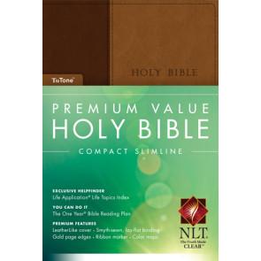 Premium Value Compact Slimline Bible NLT, TuTone - LeatherLike With ribbon marker(s)