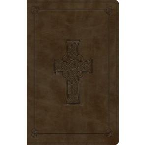 ESV Large Print Value Thinline Bible (TruTone, Olive, Celtic Cross Design) - Imitation Leather