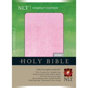 Compact Edition Bible NLT, TuTone  - LeatherLike Grey Suede/Multicolor/Pink With ribbon marker(s)