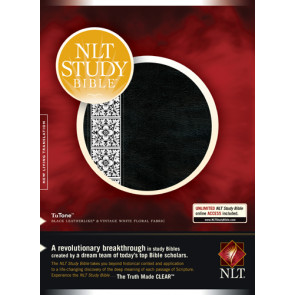 NLT Study Bible, Floral TuTone (Red Letter, LeatherLike, Black/Vintage Cream Floral Fabric, Indexed) - LeatherLike Black/Vintage Cream Floral Fabric/Multicolor With thumb index and ribbon marker(s)
