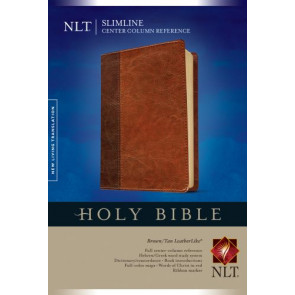 Slimline Center Column Reference Bible NLT, TuTone (Red Letter, LeatherLike, Brown/Tan) - LeatherLike Brown/Multicolor/Tan With ribbon marker(s)