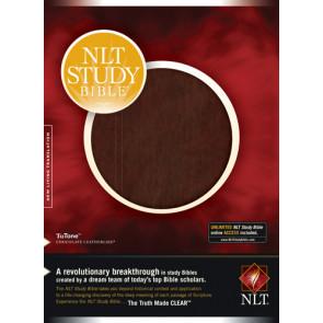 NLT Study Bible, TuTone  - LeatherLike Chocolate/Multicolor With ribbon marker(s)