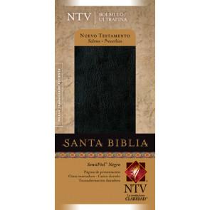 Nuevo Testamento con Salmos y Proverbios NTV, Edición bolsillo ultrafina (SentiPiel, Negro) - LeatherLike Black With ribbon marker(s)