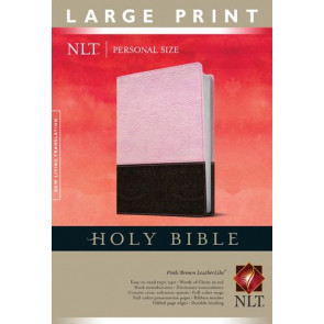 Holy Bible NLT, Personal Size Large Print edition, TuTone (Red Letter, LeatherLike, Pink/Brown) - LeatherLike Brown/Multicolor/Pink With ribbon marker(s)