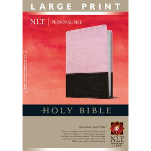 Holy Bible NLT, Personal Size Large Print edition, TuTone (Red Letter, LeatherLike, Pink/Brown, Indexed) - LeatherLike Brown/Multicolor/Pink With thumb index and ribbon marker(s)