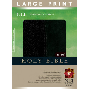 Compact Edition Bible NLT, Large Print, TuTone (Red Letter, LeatherLike, Black/Black, Indexed) - LeatherLike Black/Multicolor With thumb index and ribbon marker(s)