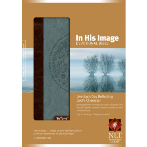 In His Image Devotional Bible NLT, TuTone (LeatherLike, Brown/Dusty Blue) - LeatherLike Dusty Blue/Brown/Multicolor With ribbon marker(s)