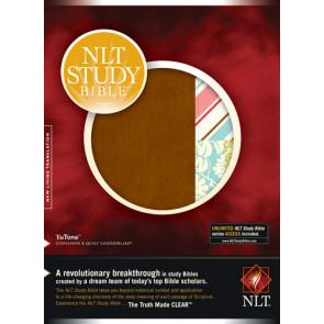 NLT Study Bible, Quilt TuTone (Red Letter, LeatherLike, Cinnamon/Quilt) - LeatherLike Cinnamon/Quilt With ribbon marker(s)
