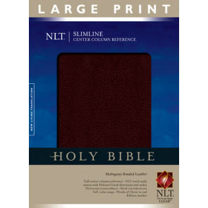 Slimline Center Column Reference Bible NLT, Large Print (Red Letter, Bonded Leather, Mahogany) - Bonded Leather Mahogany With ribbon marker(s)
