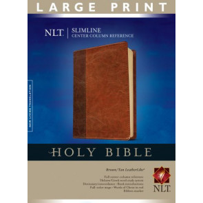 Slimline Center Column Reference Bible NLT, Large Print, TuTone (Red Letter, LeatherLike, Brown/Tan) - LeatherLike Brown/Multicolor/Tan With ribbon marker(s)