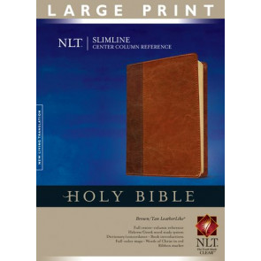 Slimline Center Column Reference Bible NLT, Large Print, TuTone (Red Letter, LeatherLike, Brown/Tan, Indexed) - LeatherLike Brown/Multicolor/Tan With thumb index and ribbon marker(s)