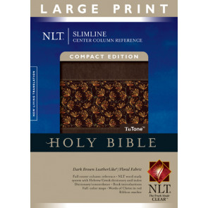 Slimline Center Column Reference Bible NLT, Compact edition, Large Print, Floral TuTone (Red Letter, LeatherLike, Dark Brown/Floral Fabric, Indexed) - LeatherLike Dark Brown/Floral Fabric With thumb index and ribbon marker(s)