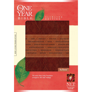 The One Year Bible NLT, Slimline Edition, TuTone (LeatherLike, Brown/Tan) - LeatherLike Brown/Multicolor/Tan With ribbon marker(s)