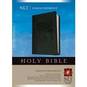 Slimline Reference Bible NLT (Red Letter, LeatherLike, Jeremiah 29:11 Ebony) - LeatherLike Jeremiah 29:11 Ebony With ribbon marker(s)