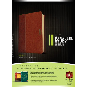 NLT Parallel Study Bible, TuTone  - LeatherLike Brown/Multicolor/Tan With ribbon marker(s)