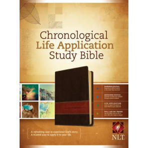 NLT Chronological Life Application Study Bible, TuTone (LeatherLike, Brown/Tan) - LeatherLike Brown/Multicolor/Tan With ribbon marker(s)