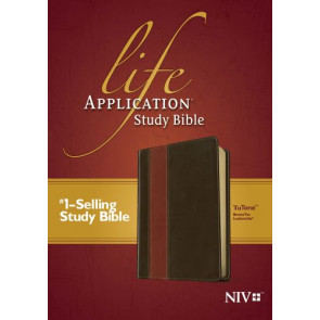 NIV Life Application Study Bible, Second Edition, TuTone (Red Letter, LeatherLike, Brown/Tan) - LeatherLike Brown/Multicolor/Tan With ribbon marker(s)