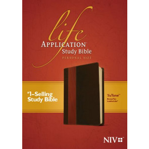 NIV Life Application Study Bible, Second Edition, Personal Size, TuTone (LeatherLike, Brown/Tan) - LeatherLike Brown/Multicolor/Tan With ribbon marker(s)