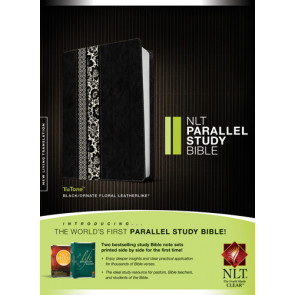 NLT Parallel Study Bible, Floral TuTone  - LeatherLike Black/Ornate Floral Fabric With thumb index and ribbon marker(s)