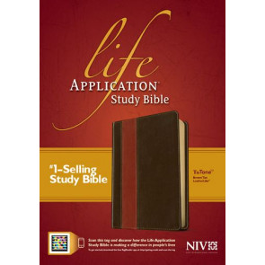 NIV Life Application Study Bible, Second Edition, TuTone (Red Letter, LeatherLike, Brown/Tan, Indexed) - LeatherLike Brown/Multicolor/Tan With thumb index and ribbon marker(s)