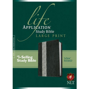 NLT Life Application Study Bible, Second Edition, Large Print, Floral TuTone  - LeatherLike Black/Vintage Ivory Floral/Multicolor With ribbon marker(s)