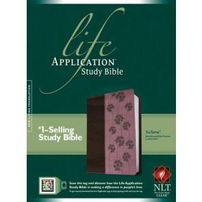 NLT Life Application Study Bible, Second Edition, TuTone (Red Letter, LeatherLike, Dark Brown/Pink Flowers) - LeatherLike Dark Brown/Multicolor/Pink Flowers With ribbon marker(s)