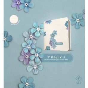NLT THRIVE Creative Journaling Devotional Bible (Hardcover, Blue Flowers) - Hardcover With ribbon marker(s)