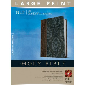 Premium Slimline Reference Bible NLT, Large Print, TuTone (Red Letter, LeatherLike, Dark Brown/Dusty Blue) - LeatherLike Dusty Blue/Dark Brown/Multicolor With ribbon marker(s)