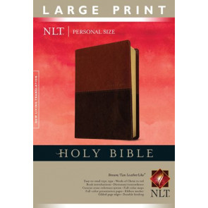 Holy Bible NLT, Personal Size Large Print edition, TuTone (Red Letter, LeatherLike, Brown/Tan) - LeatherLike Brown/Multicolor/Tan With ribbon marker(s)