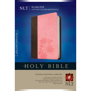 Slimline Center Column Reference Bible NLT, TuTone  - LeatherLike Dark Brown/Multicolor/Pink Flowers With ribbon marker(s)