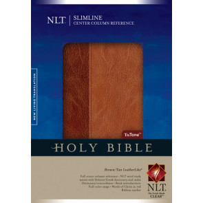 Slimline Center Column Reference Bible NLT, TuTone (Red Letter, LeatherLike, Brown/Tan, Indexed) - LeatherLike Brown/Multicolor/Tan With thumb index and ribbon marker(s)