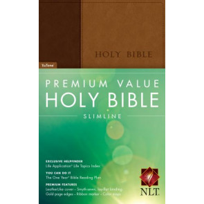 Premium Value Slimline Bible NLT, TuTone  - LeatherLike Brown/Multicolor/Tan With ribbon marker(s)
