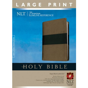 Premium Slimline Reference Bible NLT, Large Print, TuTone (Red Letter, LeatherLike, Taupe/Black) - LeatherLike Black/Multicolor/Taupe With ribbon marker(s)