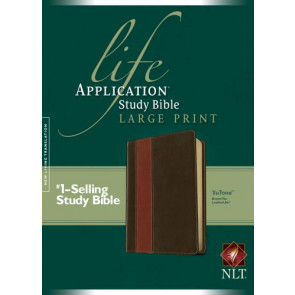NLT Life Application Study Bible, Second Edition, Large Print, TuTone (Red Letter, LeatherLike, Brown/Tan) - LeatherLike Brown/Multicolor/Tan With ribbon marker(s)