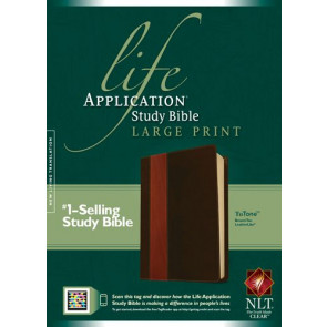 NLT Life Application Study Bible, Second Edition, Large Print, TuTone (Red Letter, LeatherLike, Brown/Tan, Indexed) - LeatherLike Brown/Multicolor/Tan With thumb index and ribbon marker(s)