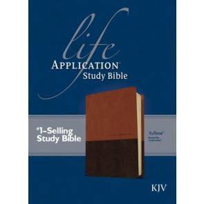 KJV Life Application Study Bible, Second Edition, TuTone (Red Letter, LeatherLike, Brown/Tan) - LeatherLike Brown/Multicolor/Tan With ribbon marker(s)