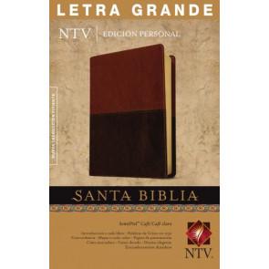 Santa Biblia NTV, Edición personal, letra grande, DuoTono (Letra Roja, SentiPiel, Café/Café claro) - LeatherLike Brown/Multicolor/Tan With ribbon marker(s)