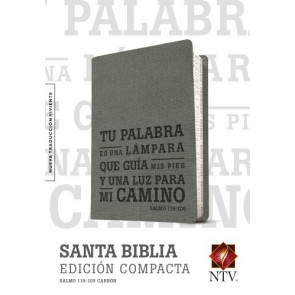 Santa Biblia NTV, Edición compacta, Salmo 119:105 (SentiPiel, Carbón) - LeatherLike Charcoal With ribbon marker(s)