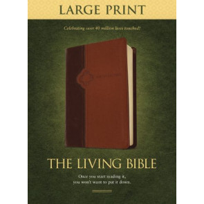 The Living Bible Large Print Edition, TuTone (LeatherLike, Brown/Tan) - LeatherLike Brown/Multicolor/Tan With ribbon marker(s)