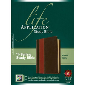 NLT Life Application Study Bible, Second Edition, TuTone (Red Letter, LeatherLike, Brown/Tan, Indexed) - LeatherLike Brown/Multicolor/Tan With thumb index and ribbon marker(s)