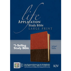KJV Life Application Study Bible, Second Edition, Large Print, TuTone (Red Letter, LeatherLike, Brown/Tan, Indexed) - LeatherLike Brown/Multicolor/Tan With thumb index and ribbon marker(s)