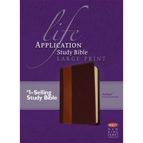 NKJV Life Application Study Bible, Second Edition, Large Print, TuTone (Red Letter, LeatherLike, Brown/Tan) - LeatherLike Brown/Multicolor/Tan With ribbon marker(s)