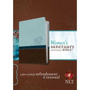 Women's Sanctuary Devotional Bible NLT, TuTone (LeatherLike, Cool Blue/Chocolate Rose) - LeatherLike Cool Blue/Chocolate Rose/Multicolor With ribbon marker(s)