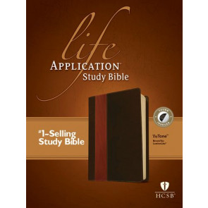 HCSB Life Application Study Bible, Second Edition, TuTone (Red Letter, LeatherLike, Brown/Tan, Indexed) - LeatherLike Brown/Multicolor/Tan With thumb index and ribbon marker(s)