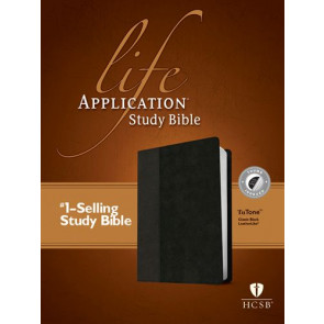 HCSB Life Application Study Bible, Second Edition, TuTone  - LeatherLike Classic Black With thumb index and ribbon marker(s)