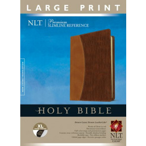 Premium Slimline Reference Bible NLT, Large Print, TuTone (Red Letter, LeatherLike, Brown Gator/Brown, Indexed) - LeatherLike Brown/Brown Gator/Multicolor With thumb index and ribbon marker(s)