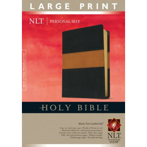 Holy Bible NLT, Personal Size Large Print edition, TuTone (Red Letter, LeatherLike, Black/Tan) - LeatherLike Black/Multicolor/Tan With ribbon marker(s)