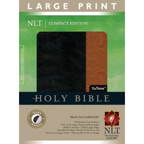 Compact Edition Bible NLT, Large Print, TuTone (Red Letter, LeatherLike, Black/Tan, Indexed) - LeatherLike Black/Multicolor/Tan With thumb index and ribbon marker(s)