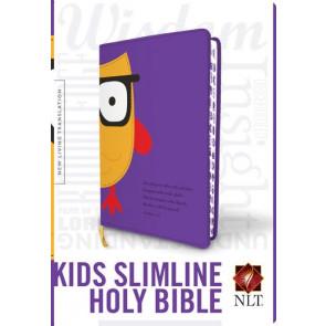 Kids Slimline Bible NLT, TuTone (Red Letter, LeatherLike, Purple/Yellow Owl) - LeatherLike Purple/Yellow Owl With ribbon marker(s)