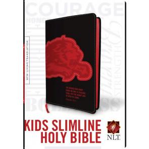 Kids Slimline Bible NLT, TuTone (Red Letter, LeatherLike, Black/Red Lion) - LeatherLike Black/Red Lion With ribbon marker(s)